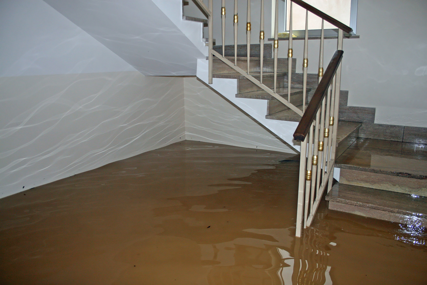 Inside flooded home